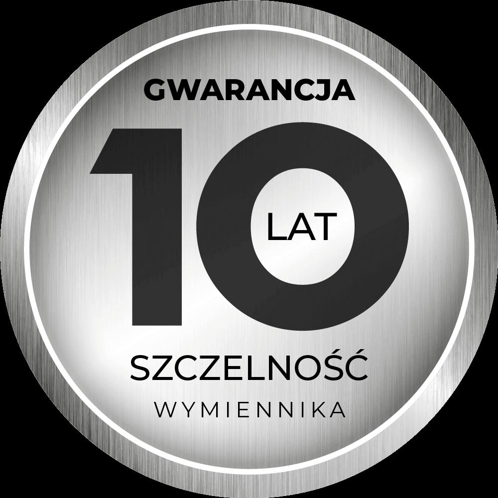 10 lat gwarancji na szczelność wymiennika